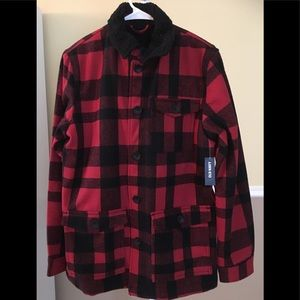 NWT Men Red Plaid Wool Jacket Coat Old Navy Small